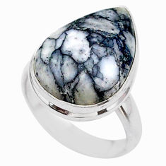925 silver 9.86cts solitaire natural white pinolith pear ring size 5.5 t27668