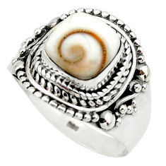 925 silver 3.17cts solitaire natural white shiva eye cushion ring size 8 r49478