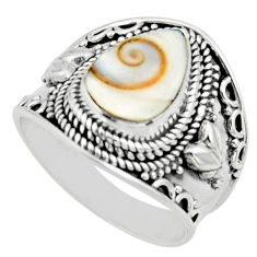 925 silver 4.21cts solitaire natural white shiva eye pear ring size 8.5 r51920