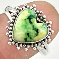 925 silver 5.23cts solitaire natural white tree agate heart ring size 8 t41614