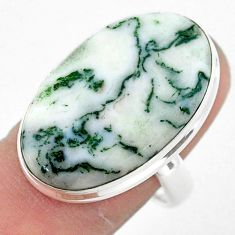 925 silver 18.46cts solitaire natural white tree agate oval ring size 8 t42912