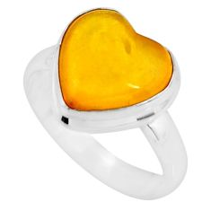 925 silver 4.52cts solitaire natural yellow amber bone heart ring size 7 r51268