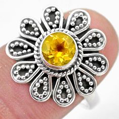 925 silver 1.15cts solitaire natural yellow citrine flower ring size 7.5 t46105