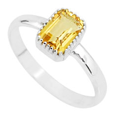 925 silver 1.52cts solitaire natural yellow citrine octagan ring size 8 t7417