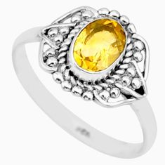 925 silver 1.60cts solitaire natural yellow citrine oval ring size 7.5 r87350