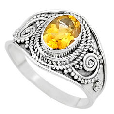 925 silver 2.10cts solitaire natural yellow citrine oval ring size 8.5 t10110