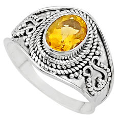 925 silver 1.96cts solitaire natural yellow citrine ring jewelry size 7.5 t10124