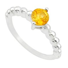 925 silver 0.99cts solitaire natural yellow citrine round ring size 7.5 r87232