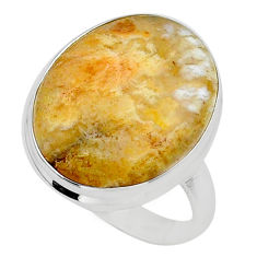 925 silver 17.66cts solitaire natural yellow plume agate ring size 10.5 t24652