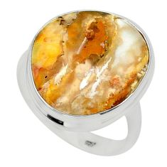 925 silver 14.40cts solitaire natural yellow plume agate ring size 9.5 t24657