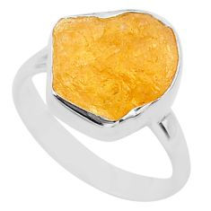 925 silver 6.72cts solitaire natural yellow tourmaline raw ring size 8 t33534