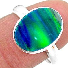 925 silver 3.91cts solitaire northern lights aurora opal lab ring size 8 t24950