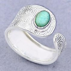 925 silver 1.42cts solitaire peruvian amazonite adjustable ring size 7 t47387
