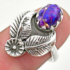 925 silver 2.81cts solitaire purple copper turquoise flower ring size 7 t25203