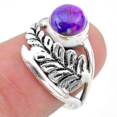 925 silver 2.28cts solitaire purple copper turquoise leaf ring size 6 t25092
