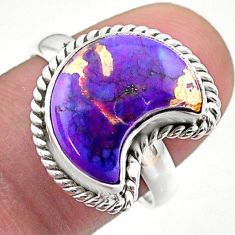 925 silver 6.10cts solitaire purple copper turquoise moon ring size 8 t47709
