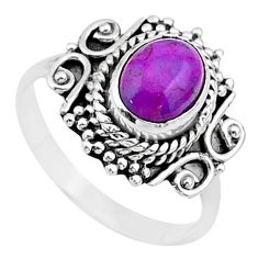 925 silver 1.91cts solitaire purple copper turquoise ring size 6.5 t27606