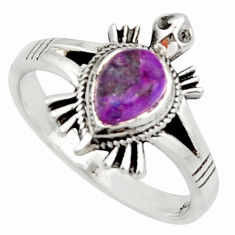 925 silver 1.47cts solitaire purple copper turquoise tortoise ring size 8 r40645