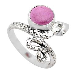925 silver 3.51cts solitaire purple phosphosiderite snake ring size 6 t31988