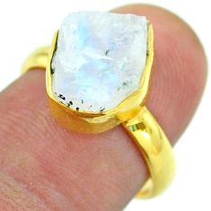 925 silver solitaire rainbow moonstone slice raw 14k gold ring size 7 t52224