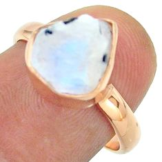 925 silver solitaire rainbow moonstone slice raw rose gold ring size 7 t52228