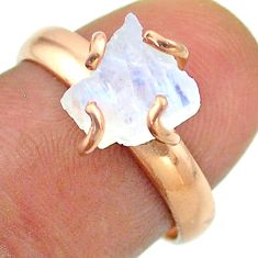 925 silver solitaire rainbow moonstone slice raw rose gold ring size 7 t52276