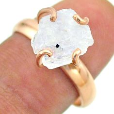 925 silver solitaire rainbow moonstone slice raw rose gold ring size 8 t52244