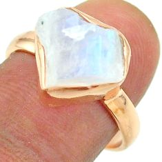 925 silver solitaire rainbow moonstone slice raw rose gold ring size 8 t52248