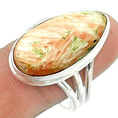 925 silver solitaire scolecite high vibration crystal pear ring size 10 t54238