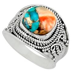 925 silver 5.63cts solitaire spiny oyster arizona turquoise ring size 8.5 r52024