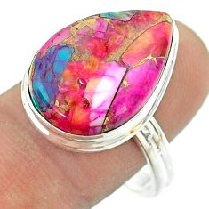 925 silver 13.27cts solitaire spiny oyster arizona turquoise ring size 10 t54184