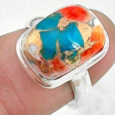 925 silver 6.31cts solitaire spiny oyster arizona turquoise ring size 6 t10484