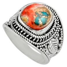 925 silver 5.42cts solitaire spiny oyster arizona turquoise ring size 7 r52038