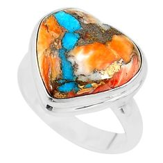 925 silver 12.34cts solitaire spiny oyster arizona turquoise ring size 7 t10332