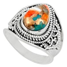 925 silver 4.71cts solitaire spiny oyster arizona turquoise ring size 8 r52051