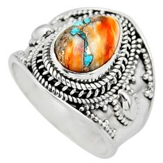 925 silver 4.36cts solitaire spiny oyster arizona turquoise ring size 9 r52031