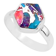 925 silver 5.24cts solitaire spiny oyster arizona turquoise ring size 9 r93405