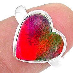 925 silver 3.51cts solitaire volcano aurora opal (lab) heart ring size 7 t25010