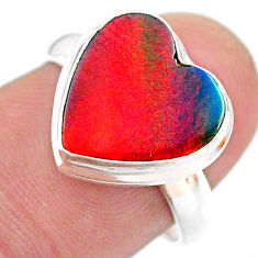 925 silver 3.65cts solitaire volcano aurora opal (lab) heart ring size 7 t25014