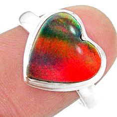 silver 3.66cts solitaire volcano aurora opal (lab) heart ring size 8.5 t25005