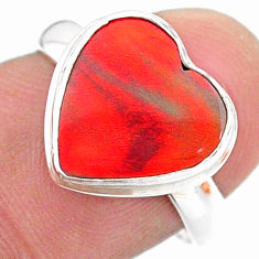 3.44cts solitaire volcano aurora opal (lab) heart shape ring size 7 t25020