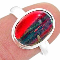 925 silver 3.87cts solitaire volcano aurora opal (lab) oval ring size 8 t25035