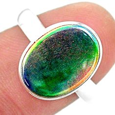 925 silver 3.64cts solitaire volcano aurora opal (lab) oval ring size 8 t25039