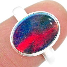 3.85cts solitaire volcano aurora opal (lab) oval shape ring size 8 t25027