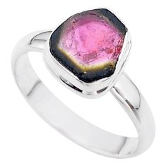 925 silver 4.66cts solitaire watermelon tourmaline slice ring size 10 t46308