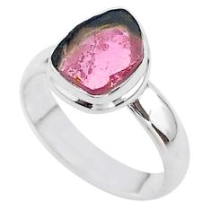 925 silver 3.83cts solitaire watermelon tourmaline slice ring size 6 t46283