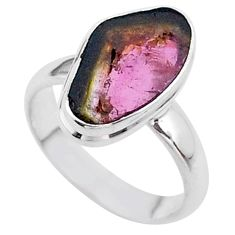 925 silver 4.42cts solitaire watermelon tourmaline slice ring size 6 t46303