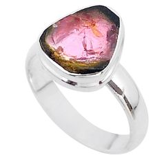 925 silver 4.34cts solitaire watermelon tourmaline slice ring size 7 t46291