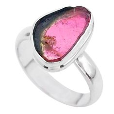 925 silver 5.23cts solitaire watermelon tourmaline slice ring size 7 t46298