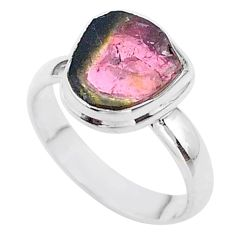 925 silver 4.34cts solitaire watermelon tourmaline slice ring size 7 t46310